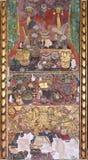 Vecchio affresco cinese sulla parete tailandese del tempio Fotografia Stock