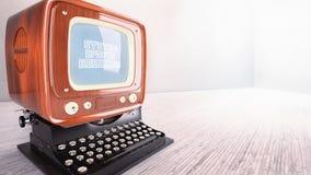 Vecchio aggiornamento del sistema della macchina da scrivere del computer di concetto Fotografia Stock