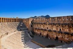 Vecchio amphitheater Aspendos a Antalya, Turchia fotografie stock libere da diritti
