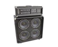 Vecchio amplificatore basso isolato Fotografia Stock
