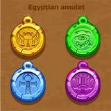 Vecchio amuleto egiziano colorato Fotografie Stock Libere da Diritti