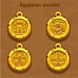 Vecchio amuleto egiziano dorato Fotografie Stock Libere da Diritti