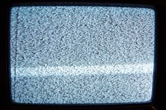 Vecchio analogo TV con elettricità statica fotografia stock
