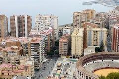 Vecchio anello del toro a Malaga, Spagna Immagini Stock Libere da Diritti