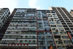 Vecchio appartamento, Hong Kong Fotografie Stock