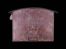 Vecchio arrugginito della cassetta delle lettere isolato su fondo nero Immagini Stock