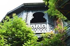 Vecchio balcone della casa che surrending con i rami Fotografia Stock