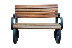 Vecchio banco di legno con le gambe d'acciaio isolate Fotografia Stock