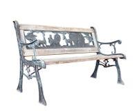 Vecchio banco di sosta candeggiato con il tema del giardino zoologico fotografia stock libera da diritti
