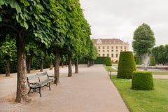 Vecchio banco in parco verde vicino al palazzo di Schonbrunn, Vienna Fotografie Stock