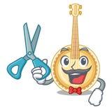 Vecchio banjo del barbiere nella mascotte di forma royalty illustrazione gratis