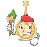 Vecchio banjo dell'artista nella mascotte di forma royalty illustrazione gratis