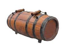 Vecchio barile con due manici di legno isolato Immagini Stock Libere da Diritti