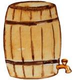 Vecchio barilotto di birra con un rubinetto Illustrazione dell'acquerello per progettazione illustrazione di stock