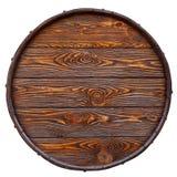 Vecchio barilotto fatto di legno con bella struttura Isolato su bianco immagini stock libere da diritti