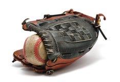 Vecchio baseball e guanto Fotografia Stock Libera da Diritti