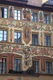Vecchio bello affresco su costruzione medievale in Lucern, Svizzera Fotografia Stock Libera da Diritti