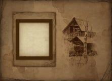 Vecchio blocco per grafici della foto con l'illustrazione di matita Immagine Stock