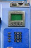 Vecchio blu del telefono pubblico Fotografia Stock Libera da Diritti