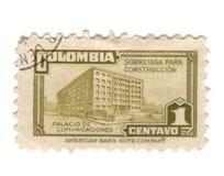Vecchio bollo dalla Colombia Immagini Stock