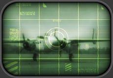 Vecchio bombardiere su uno schermo della TV Fotografie Stock Libere da Diritti