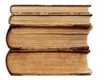 Vecchio bordo del libro, copertura d'annata del mucchio della carta di Brown, bianco isolata Immagine Stock