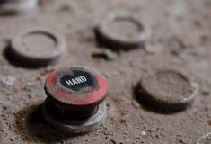 Vecchio bottone del pannello di controllo della fabbrica Fotografia Stock Libera da Diritti