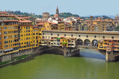 Vecchio Bridge, Florence , Italy. View from above Stock Images
