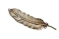 Vecchio brooch d'argento della piuma immagini stock libere da diritti