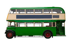 Vecchio bus di doppio ponte verde Fotografie Stock Libere da Diritti