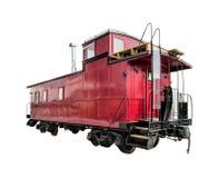 Vecchio caboose del treno isolato fotografia stock