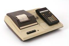 Vecchio calcolatore con la stampante Fotografia Stock Libera da Diritti