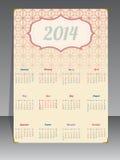 Vecchio calendario 2014 con fondo strutturato Fotografia Stock Libera da Diritti