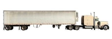 Vecchio camion americano bianco isolato su bianco Fotografia Stock