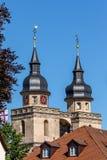 Vecchio campanile della chiesa della città di Bayreuth Fotografie Stock Libere da Diritti