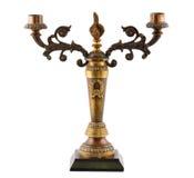 Vecchio candeliere isolato su bianco Fotografia Stock Libera da Diritti
