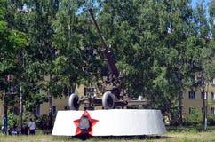Vecchio cannone antiaereo fotografie stock