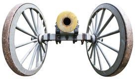 Vecchio cannone antico dell'artiglieria di guerra civile isolato Fotografia Stock