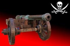 Vecchio cannone (bandiera del pirat) Fotografia Stock