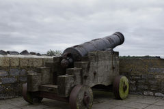 Vecchio cannone del ferro in Playmouth, Inghilterra Fotografia Stock