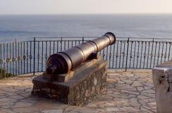 Vecchio cannone del metallo contro il mare immagine stock libera da diritti