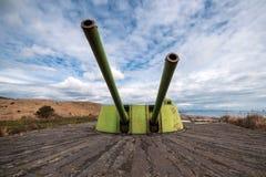 Vecchio cannone della batteria della riva Immagine Stock Libera da Diritti