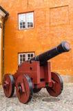 Vecchio cannone a Helsingor Fotografia Stock