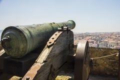 Vecchio cannone a Lisbona, Portogallo Fotografia Stock
