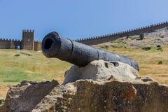 Vecchio cannone sui precedenti della fortezza Fotografie Stock