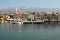 Vecchio cantiere navale di Creta Chania Fotografia Stock Libera da Diritti