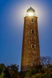 Vecchio capo Henry Lighthouse con la luna Fotografia Stock Libera da Diritti