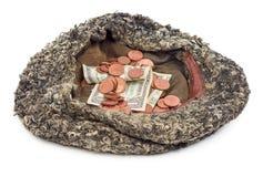 Vecchio cappello con soldi donati Fotografia Stock Libera da Diritti