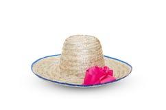 Vecchio cappello conico di bambù asiatico su fondo bianco Fotografie Stock