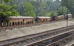 Vecchio carage arrugginito del treno a Kandy Fotografia Stock